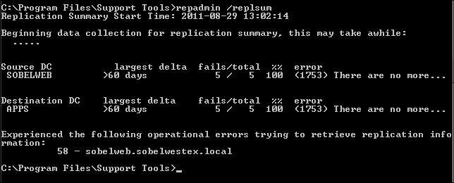 repadmin results