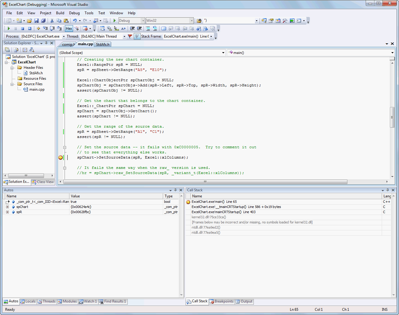 Why this single command causes exception? (Excel 2007