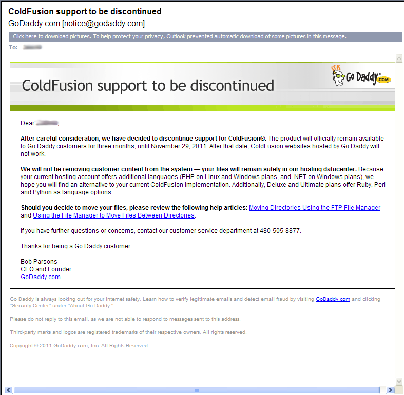 ColdFusion EMail from GoDaddy