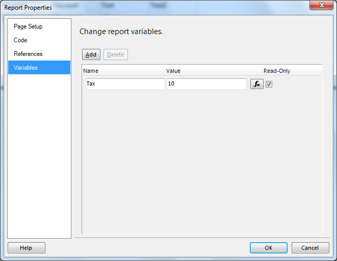Add variables to SSRS