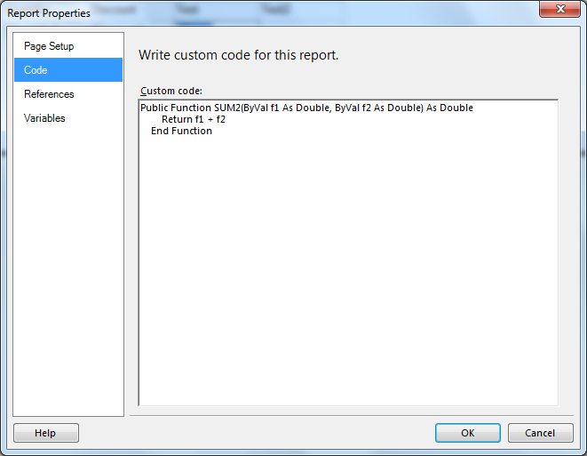 How to write custom code in ssrs 2005