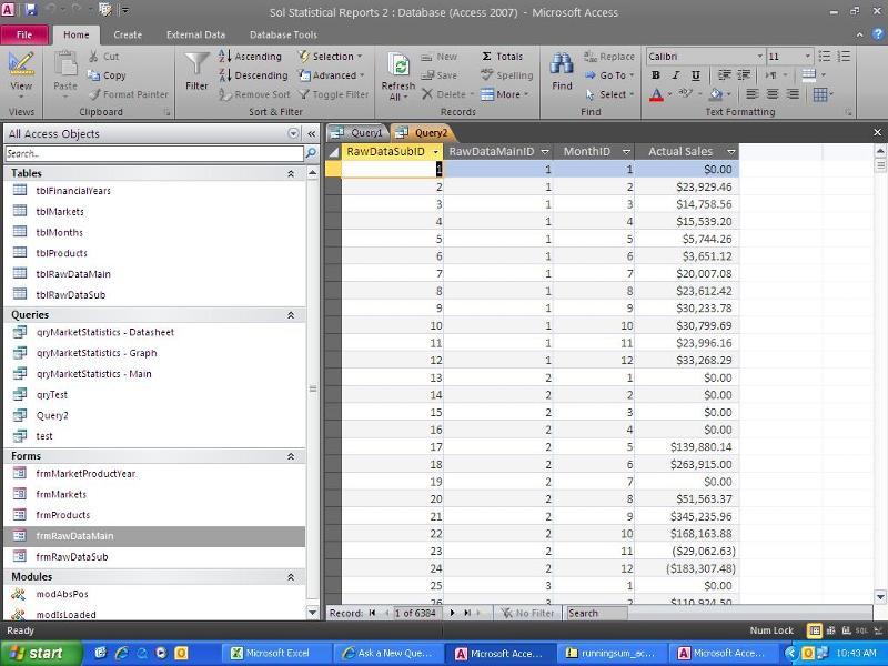 Screenshot from MS Access query