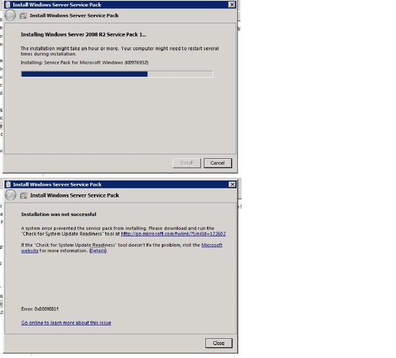 Screen shot of failure