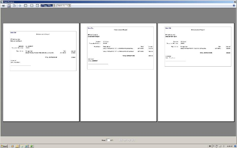 Report output -- 3 pages