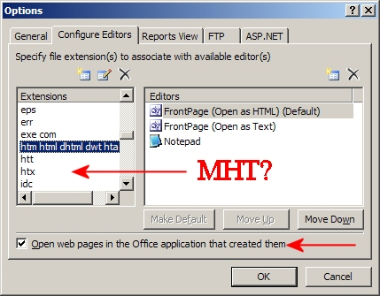 Frontpage 2000 launches when I open a  mht file
