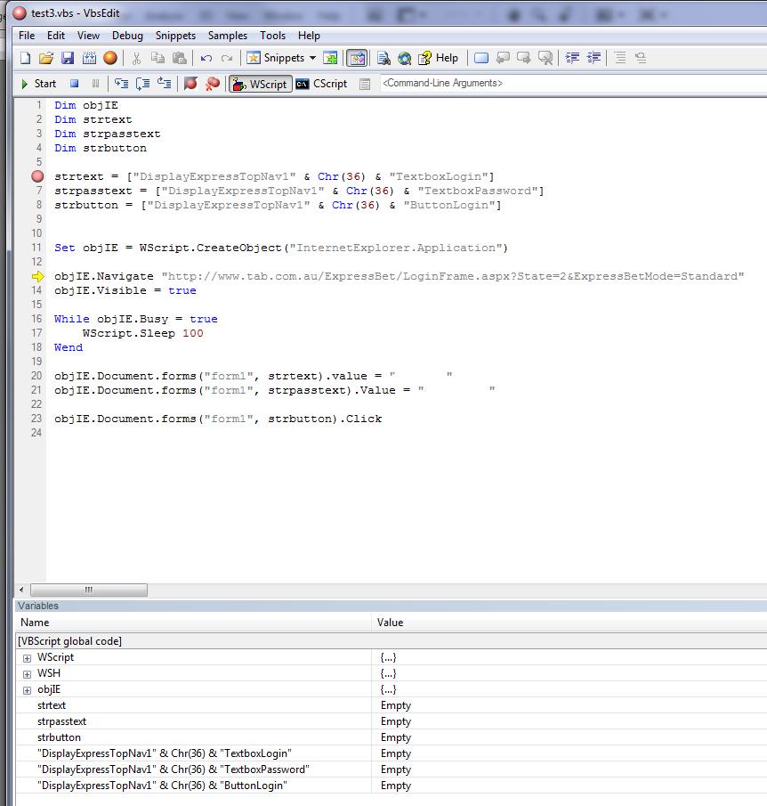 VB Script Login to Webpage