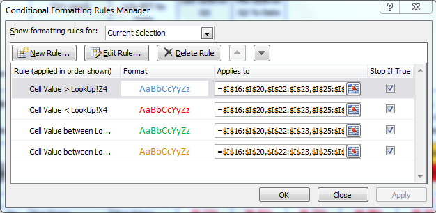 Screen Shot of Conditional Formatting Window