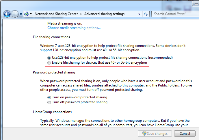 Windows 7 Filesharing Encryption Level