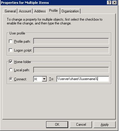 Multiple user properties dialogue box in Win 2003