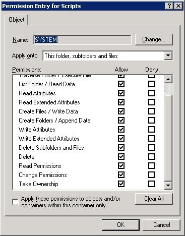 Custom Permissions window
