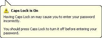 Screen shot of balloon warning