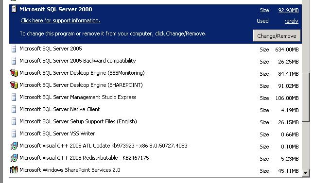 list of installed server programs