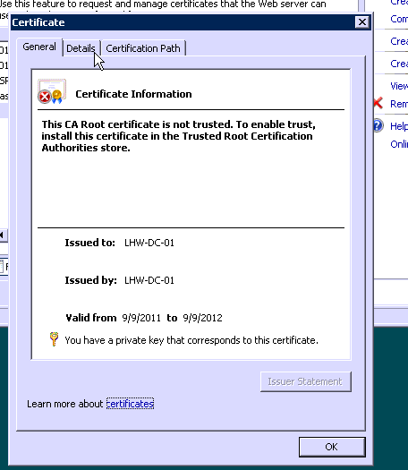 issue with certificate