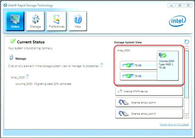 Intel RAID Status