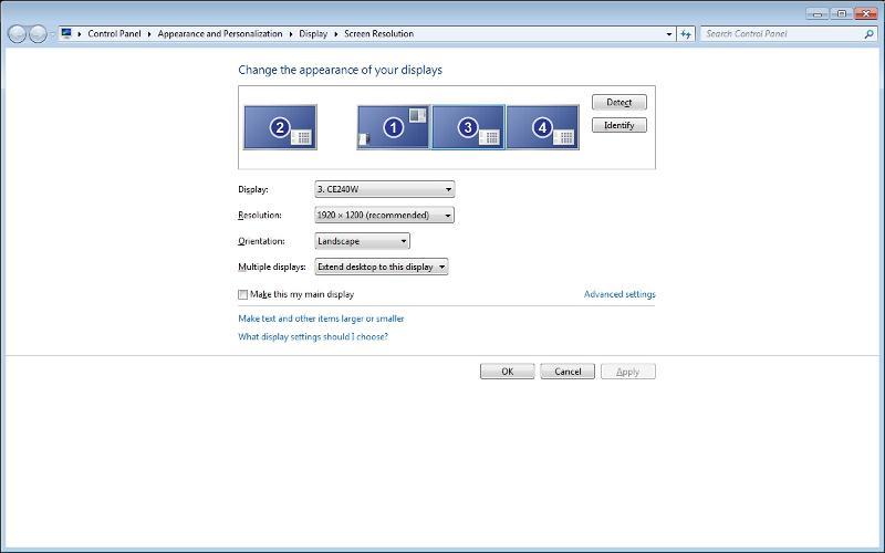 Screenshot of display screen resolution