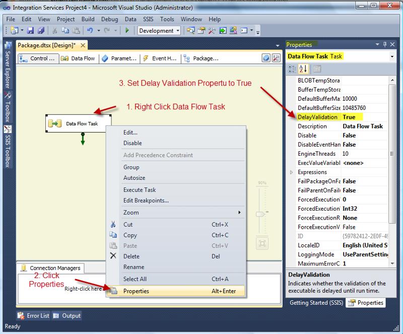 Setting the DelayValidation properties on Data Flow Task