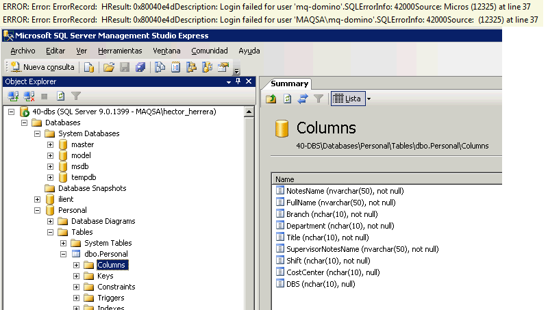 two diferent errors and sql server manager