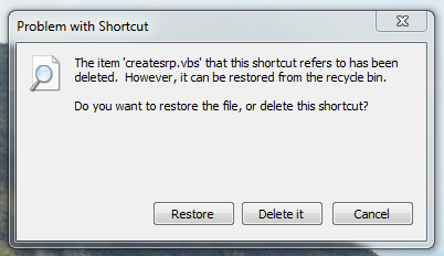 Problem With Shortcut - Windows System Restore Icon Image Shortcut