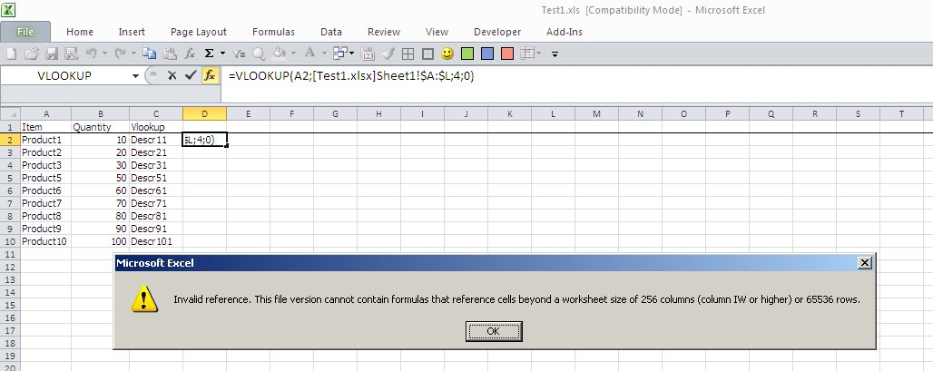 Excel 2010 - Vlookup from .xlsx file to .xls