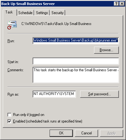 SBS Backup Task Scheduled Task