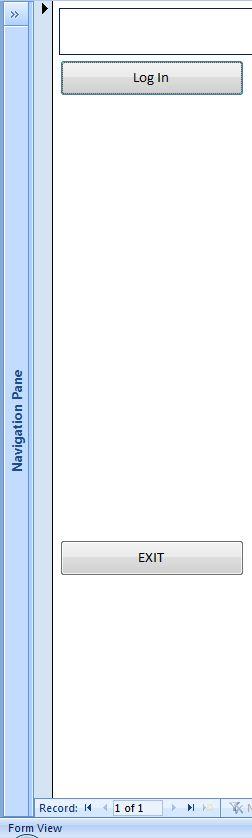 Login form showing the vertical bar