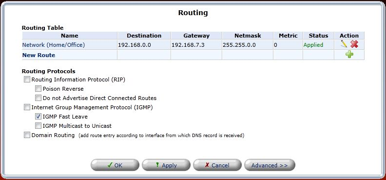 Routing Table on Fios Router