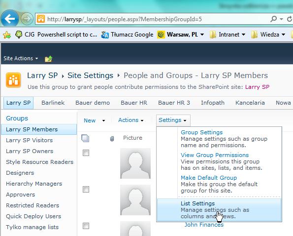 Accessing user list settings