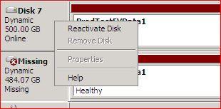 Cant Delete missing disk