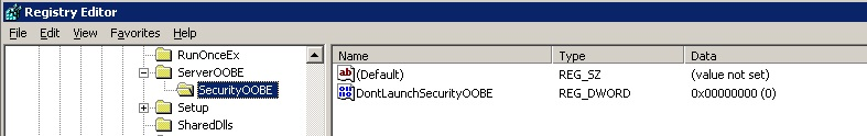 HKLM\SOFTWARE\Microsoft\Windows\CurrentVersion\ServerOOBE\SecurityOOBE