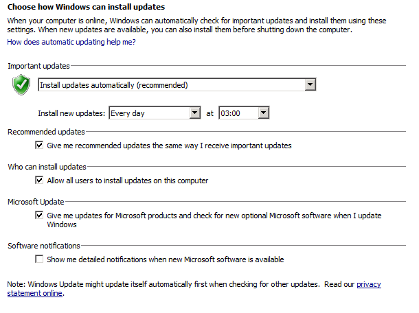 Windows updates settings