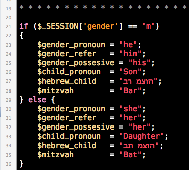 This is how my variable is set in my code editor Coda