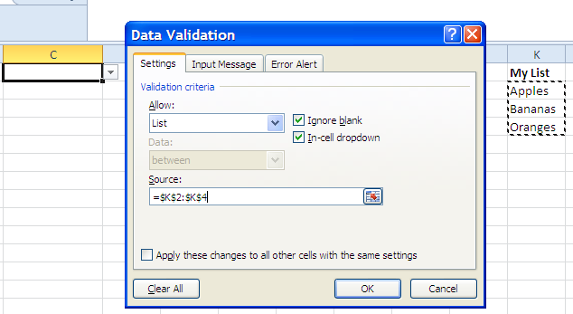 set up data validation with list in cells