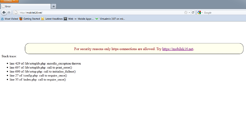 SSL Error message from Moodle LMS