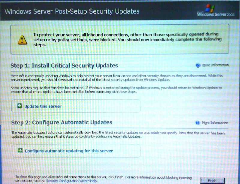 """Windows Server Post-Setup Security Updates"" Screen"