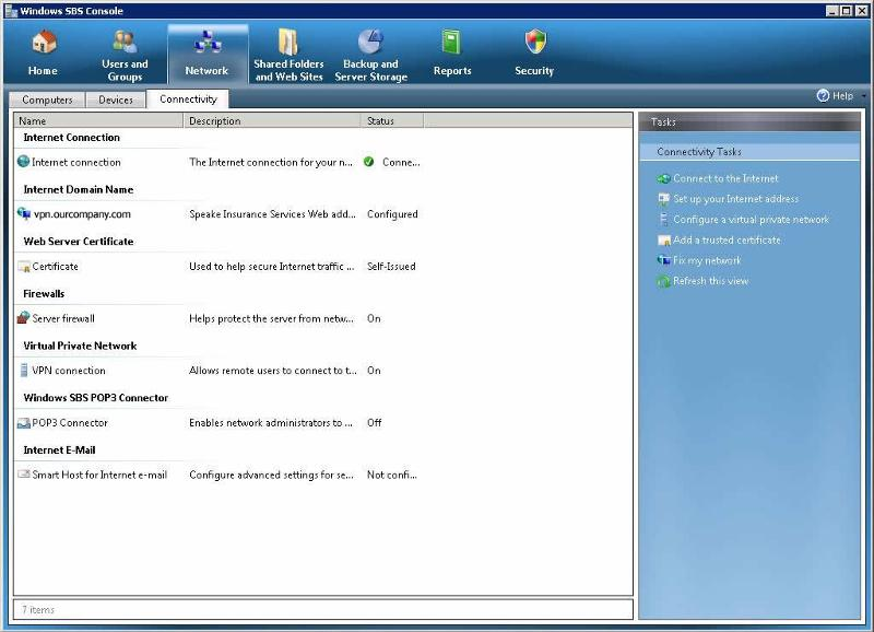 Windows SBS Console
