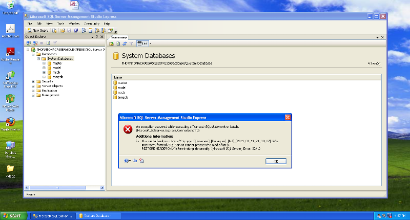 Screen-shot of error.