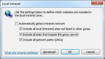 Local Intranet Settings