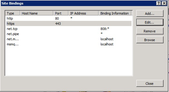 IIS Default Web Site bindings