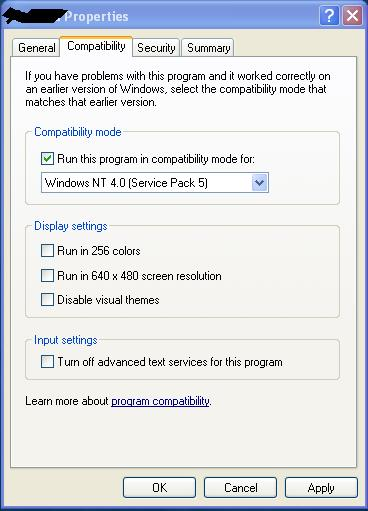 run a application in Windows NT compatblity mode