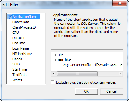 SOLUTION] Excluding applications from tracing by sql profiler