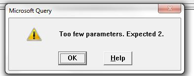 Error: Too few parameters