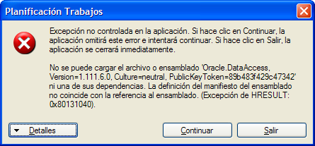 Error Redirect Oracle 10
