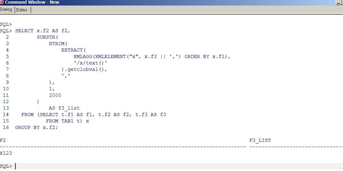 Oracle error: ORA-01489: result of string concatenation is