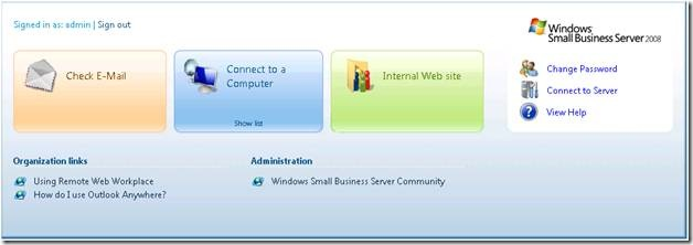 remote web workplace dashboard