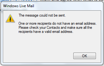 Sending E-Mail Issue - Windows Live Mail 2011 No. 2