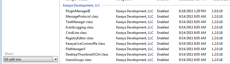 Kaseya plugins show up but aren't installed