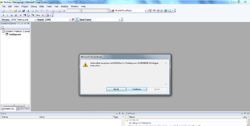 VS 2008 Debug Interface