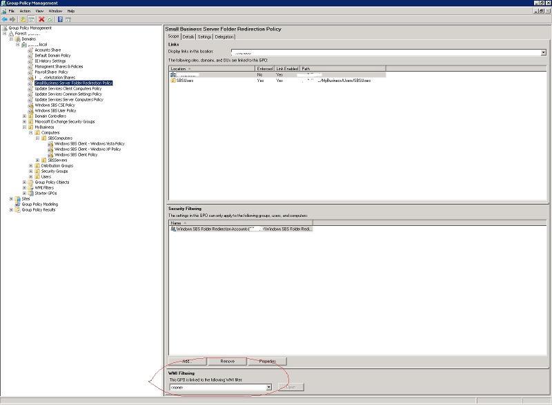 the main gp editot screen showing wmi filter