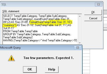 MS Query-Format Error