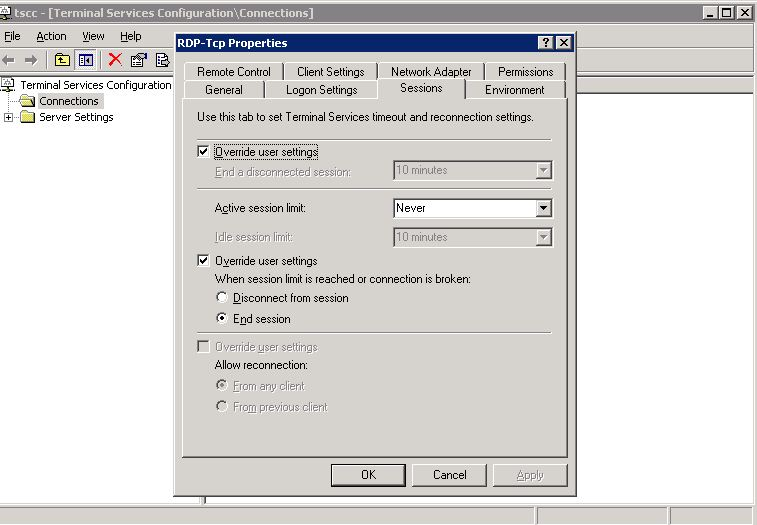 RDP Timeout value for windows server 2003